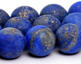 """10MM Matte Lapis Lazuli Natural Gemstone Full Strand Round Loose Beads 16"""" (101159-325)"""