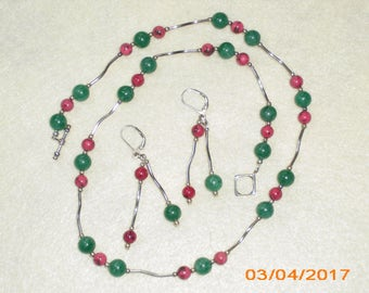 Green Adventurine and Rose Turquoise Beaded Necklace Set