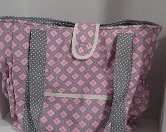 Diaper bag, Gray and Pink diaper bag, travel bag, laptop bag ,school bag,beach tote knitting tote.