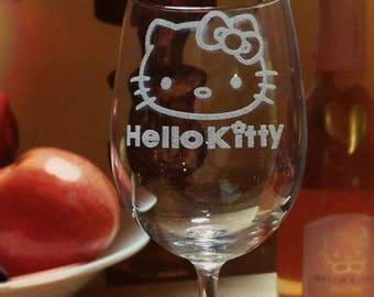 Kitty Wine Glass, Engraved Custom Wine Glass