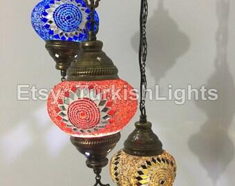 3 Ball Turkish  Mosaic Chandelier Mix Sunflowers