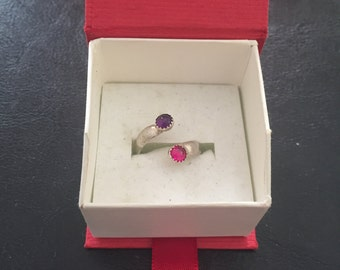 Ruby and Amethyst adjustable sterling silver ring (starting size 6)