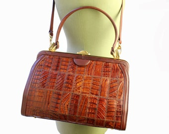 Vintage Orange Exotic Leather Handbag