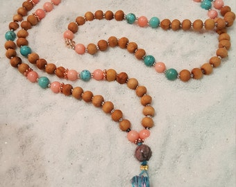 Mala Necklace, 6mm, Sandalwood, Pink Coral, Turquoise, Rhodonite, Daisy Charm, Blue/Pink Tassel, 108 Beads