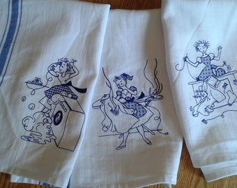 Kitchen  Towels Vintage Style 1950s House Wife