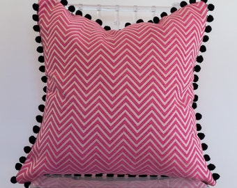 Pink Zig Zag Print 20x20 inch pillow with Black Pom Pom Trim