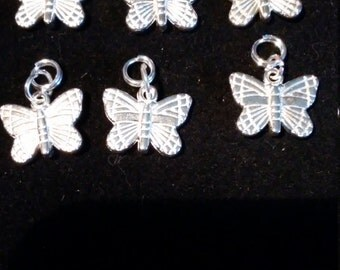 Sterling Silver plate Butterfly Charms