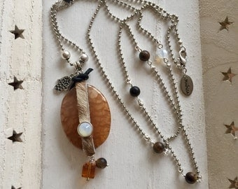 long silver necklace with large Brown natural stone, matte Tiger eye beads and Swarovski stones