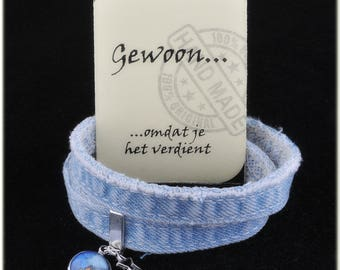 Jeans bracelet, double with cabochon pendant and charm. With compliments card a nice gift