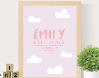Birth print, Nursery wall art, Birth print for nursery, Girls birth print, Cloud print, Girls nursery, Custom wall print, Digital print