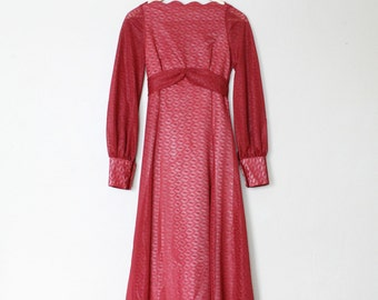 1970s Vintage Lace Long Sleeved Dress