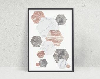 Marble Geometric Pattern Modern Wall Art Print