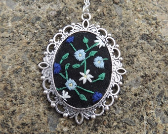 Floral hand embroidered cameo necklace