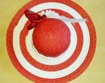 Red & White Derby Hat