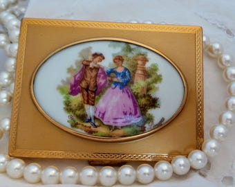 Vintage Patrys Limoges Brass Compact with Fragonard Porcelain Painting