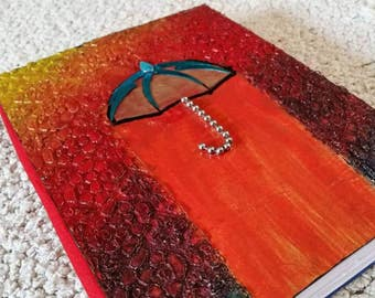 Handmade Notebook - Journal - Diary planner agenda perfect gift  for her rainbow umbrella blue unique