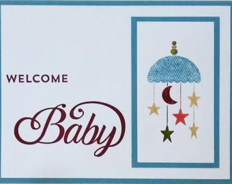 Baby Shower Card, Handmade Card, Stampin Up Baby Card, Baby Boy, Blue Baby Card, Welcome Baby, Greeting Card