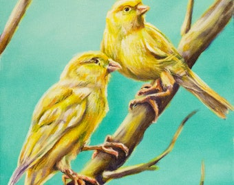Original Acrylic Canaries Bird Painting