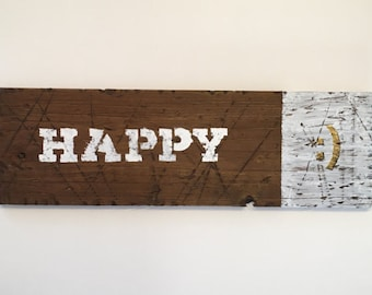 Happy ~ Weathered Wood Art