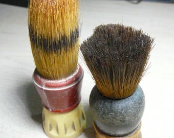 Two Made Rite Pure Badger Bristle Cased Sterilized Rubber Handle Shaving Brushes #150 & (?)