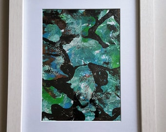 Acrylic painting abstract, monotony print, wood frame white 22 x 27 cm, unique