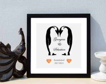 Personalised Couples Forever Penguin Love Framed Print