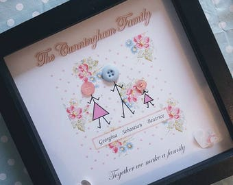 Personalised Family Button Frame