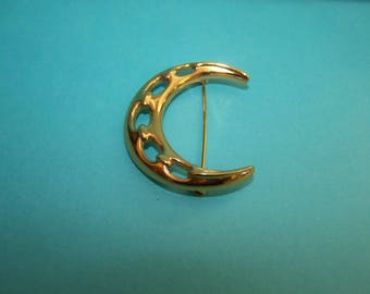 Monet Crescent Moon Brooch