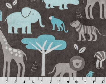 Shannon Minky Fabric, Jungle Cuddle Minky, Elephant Lion Giraffe Jungle Minky Fabric, Minky Fabric by the Yard