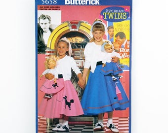 "Butterick Pattern 5658, Children's, Girls, 18"" Doll Poodle Skirt, Sock Hop, 50s Twins Pattern for Girl & Doll, Halloween Costume, Role Play"
