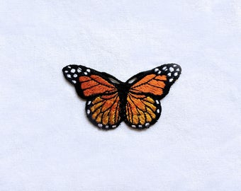 1X orange butterfly romantic fashion Iron On Embroidered Patch Applique