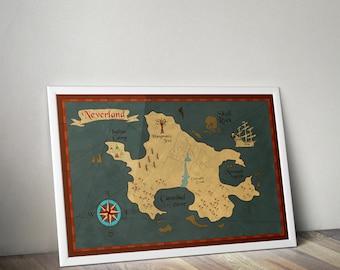 Peter Pan Neverland Map / Peter Pan Nursery / Neverland Map / Map of Neverland / Peter Pan / Peter pan nursery / Captain Hook Print