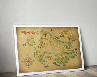 Neverland Map / Neverland Print / Neverland Art / Peter Pan Poster / Peter Pan Nursery / Peter pan map neverland poster