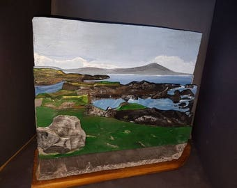 Achill Across the Bay. Three dimensional layered landscape created from reclaimed natural roof slates.