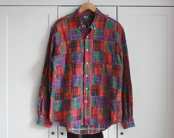 Polo by Ralph Lauren Vintage Checked Shirt Retro 80s Men Pattern Red Top Oversize Colorful Short Sleeves Button Down / Large size