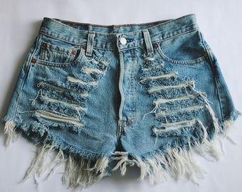 LEVI'S High waisted Denim Shorts Destroyed Ripped Front Jeans Vintage Cut Off Levi's Wrangler Lee Classic Brands / MADE TO order