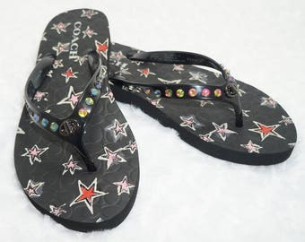 Black Flip Flops Embellished With Color Change Rainbow Crystals