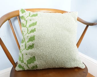Hand Knitted Cushion Green Leaf Pattern Large