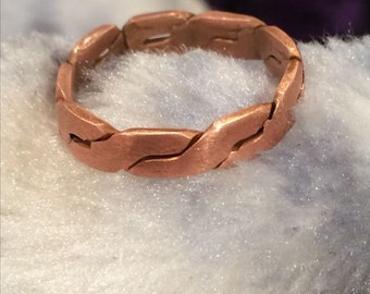 Mens Twisted Copper Ring