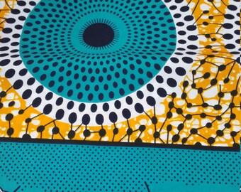 Green, White & Orange (nsubura mix) WaxPrint/ African Print/ Ankara (6 yards)