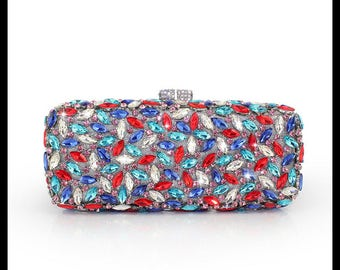 Glamorous colorful clutch bag with high quality  Crystals