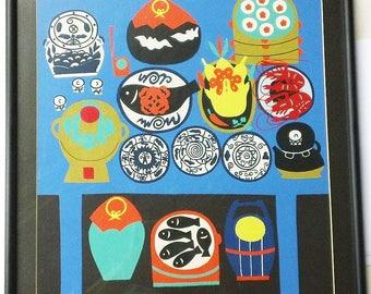Vintage, Mod, Folk Art Stencil Print Japanese/Asian Food Feast Still Life