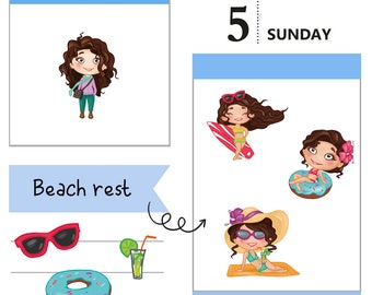 Tumma planner stickers - Beach rest, S0004, Erin Condren Life planner stickers, summer stickers, kawaii stickers, happy planner stickers