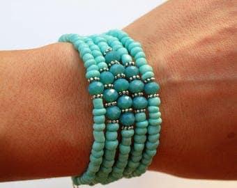 Turquoise, Memory Wire Bracelet, Birthday Gift, Beachy Theme, Wrap Bracelet, Anniversary Gift, Jewelry, Silver, Bridesmaid