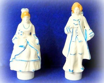 Vintage Victorian couple salt and pepper shakers