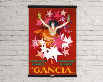 Gancia Vermouth Bianco Wine Ad Vintage Poster Hanging Canvas