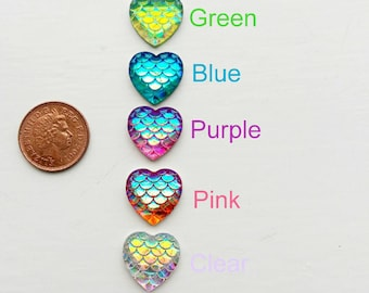 Mermaid tail pattern heart Cabochon, Resin hearts,Heart flatbacks, Mermaid cabochon,