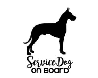 Service Dog on Board | Great Dane | 5in Vinyl Decal | ICE Sticker | In Case of Emergency
