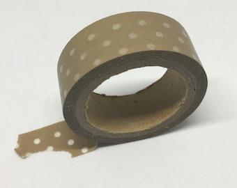Washi Tape - Brown and White Polka Dot Washi Tape - Decorative Tape - Adhesive