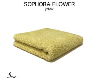 """Natural dyed towel with """"Sophora Flower"""""""